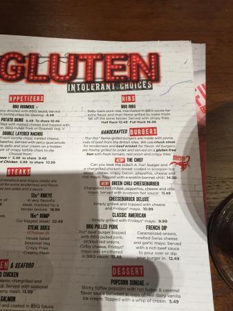 Gluten free menu - Picture of TGI Fridays, Gateshead - TripAdvisor