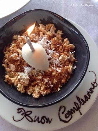 Otto Ristorante: Panna Cotta $18.00 (Coconut panna cotta, crumble, coconut ice cream)