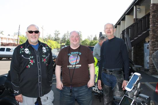 Three of our group ready to ride again after a comfortable night's stay at the Red Feather Lodge
