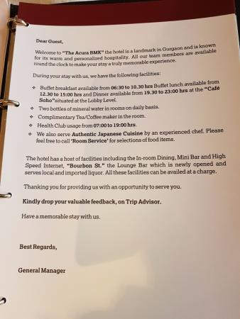 letter by hotel gm in every room mentioning daily complimentary