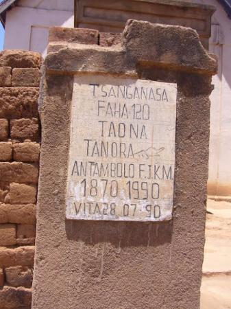 Antananarivo Province, Madagascar: A sign commemorating the 120th anniversary of a church