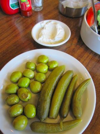 South Governorate, Lebanon: complementary Lebanese Labneh, olives, olive oil and pickled cucumbers
