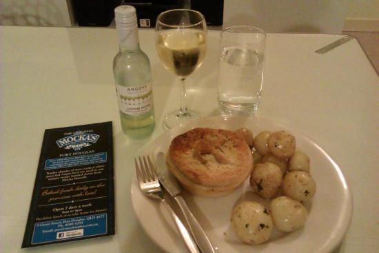 Freestyle Resort Port Douglas: Mocka's Pies kangaroo pie and complimentary white wine