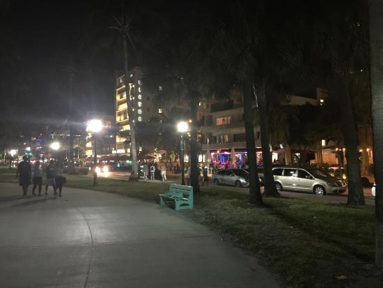 Ocean Drive Miami Beach Boardwalk At Night