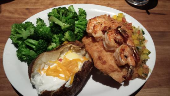 beer battered talapia with grilled shrimp steamed broccoli with rh tripadvisor com