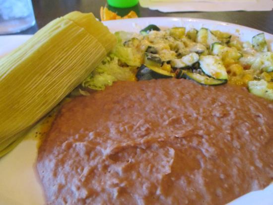 Lerua's Fine Mexican Food: Green Corn Tamale, Refried Beans, Calabacitas