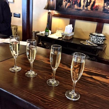 Three Forks, MT: champagne greeting upon arrival