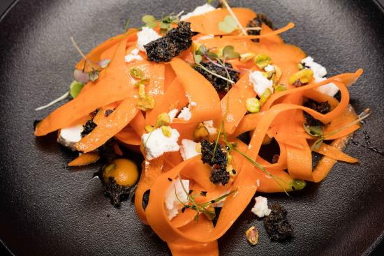 Bistro Allure: Elements of carrot, sheep's feta, pistachio,sesame brittle, truffle honey (V/GF)