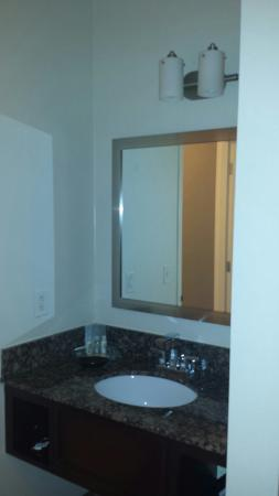 Rosemont, IL: Bathroom vanity adjoining shower/toliet area