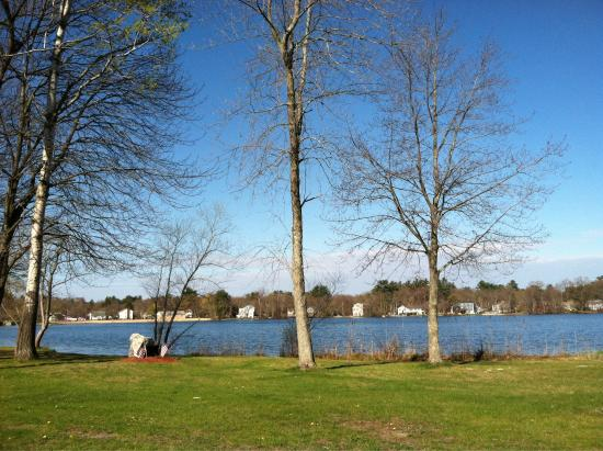Wilmington, MA: View from a bench on Silver Lake across from beach area
