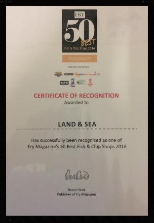 Thirsk, UK: A very proud fish fryer today. Just got our certificate through the post;-)