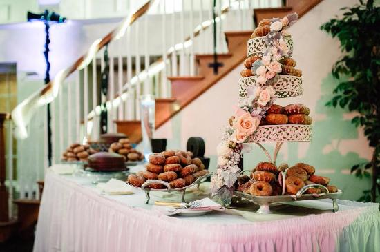 Mansfield, OH: Our daughter and son in law's wedding cake using Apple Hill Doughnuts...amazing!