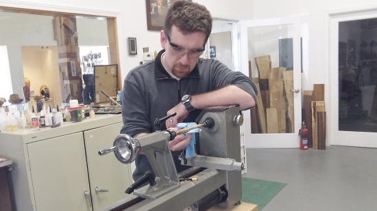 South Beach, Oregon: Working in the woodturning shop.