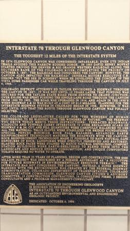 Plaque describing the engineering feat that is Glenwood Canyon