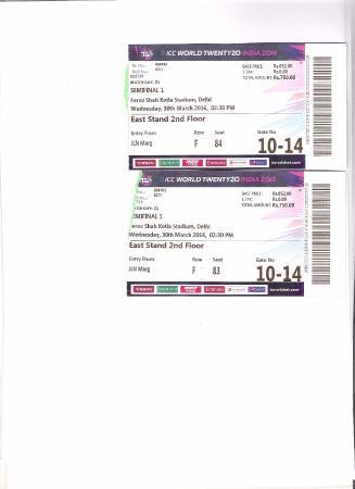 Feroz Shah Kotla Stadium: The tickets