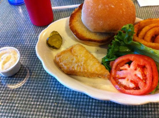 Ticonderoga, NY: This is my fish sandwich--note the very small size and incredibly odd shape of the piece of fish