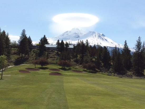 Lake Shastina Golf Resort - Scottish Course: Hole #18 with majestic Mt. Shasta in the background