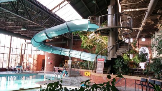 The Atrium Large Indoor Waterslide Salt Water With A Kiddie Pool