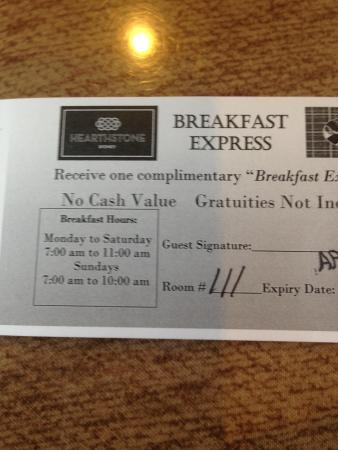 Hearthstone Inn Sydney : Breakfast voucher has different time than what we were allowed!