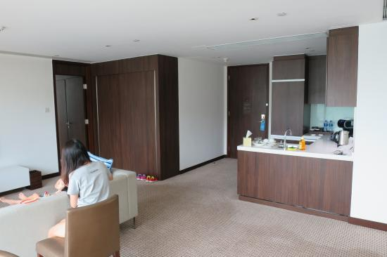 Auberge Discovery Bay Hong Kong Living Room And Mini Kitchen A Guest Bathroom Next