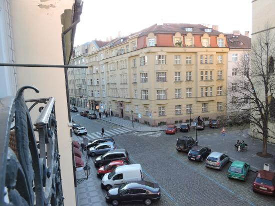Maximilian Hotel: View from our room's balcony towards Old Town Square.