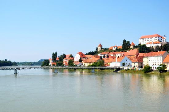 Ptuj, Slovenia: Il castello in alto sulla collina, visto da lontano