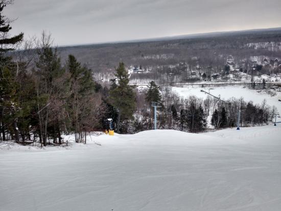 Looking down the slope at Calabogie Peaks ski resort.
