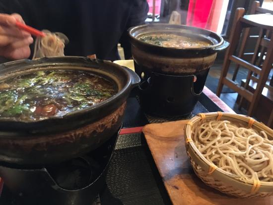 Cocoron : stamina dipping soba in the distance and my mushroom dipping dish upclose