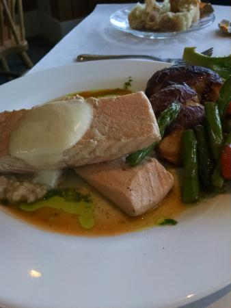 North Hero, VT: poached salmon