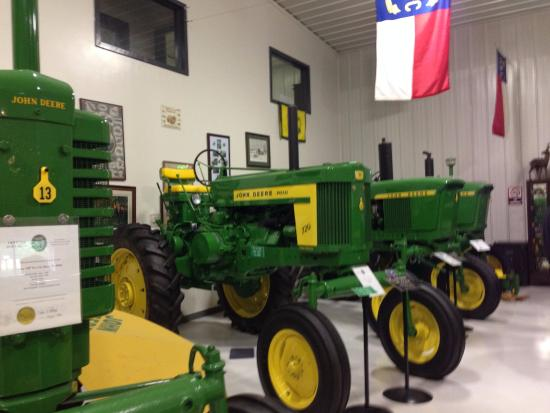 Trinity, NC: Some of 22 restored John Deere tractors at John Deere Tractor Museum at Linbrook Heritage Estate