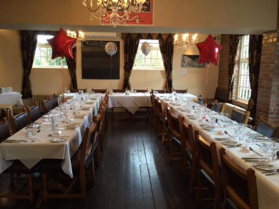 Bingham, UK: Tables set out for 33 guests