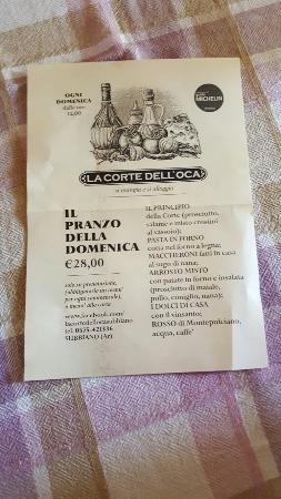 Subbiano, Italia: Menù della Domenica