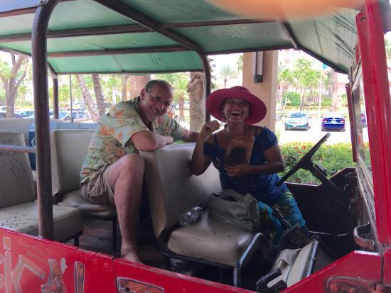 Santa Cruz, Aruba: Madi and husband in Jeep