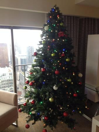 Chicago Marriott Downtown Magnificent Mile: Full size decorated Christmas tree... in April!
