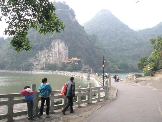 Liuzhou, China: Walking path along the lake