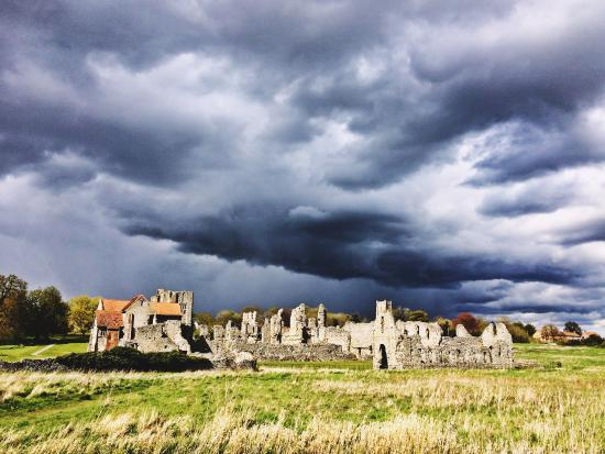 The nearby Castle Acre Priory looking very dramatic.