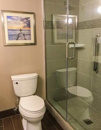 hilton garden inn los angelesredondo beach bathroom glass enclosed walk in shower - Bathroom Glass Door