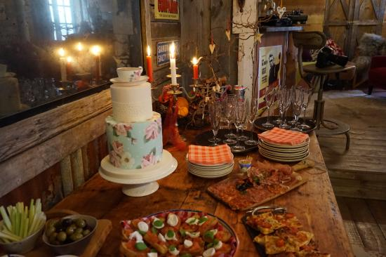 Saint Ewe, UK: Canapés and Wedding Cake in the Party Shed.