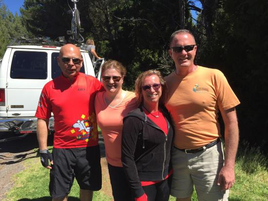 Paia, HI: Us four pals beginning the ride, and a couple photos from inside the comfy van