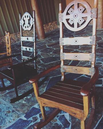 Disneyu0027s Animal Kingdom Lodge: Carved Wooden Rocking Chairs Overlooking The  Savanna.