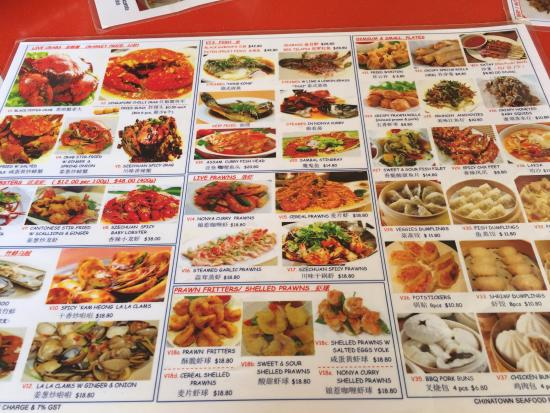 Menu picture of chinatown seafood restaurant singapore for Au jardin singapore menu