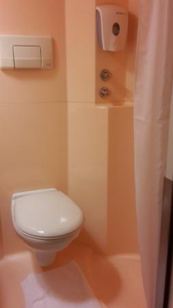 Premiere Classe Toulon - La Seyne Sur Mer: Derrière le rideaux se trouve le coin douche....