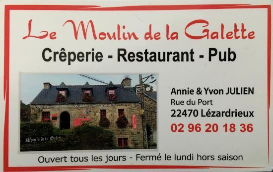 Creperie Moulin La Galette Carte De Visite Du