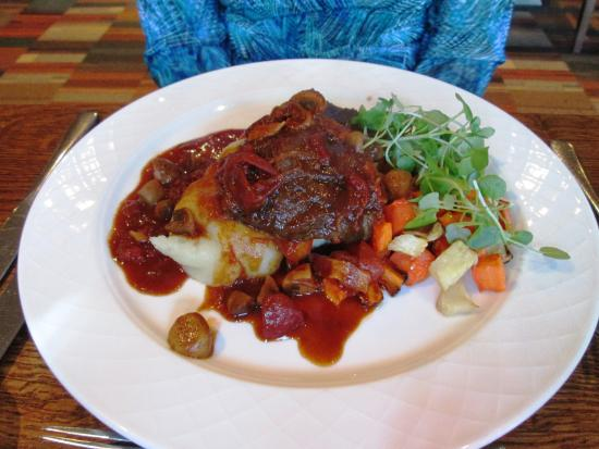 Sutton Scotney, UK: Braised Blade Of Beef, Potatoes and Mixed Vegetables