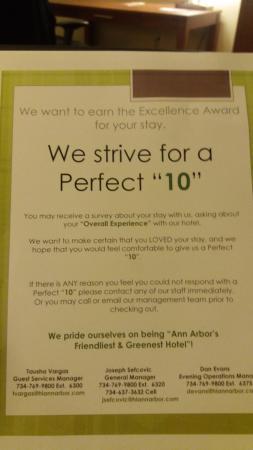 Holiday Inn Ann Arbor / University of Michigan: They walk the talk