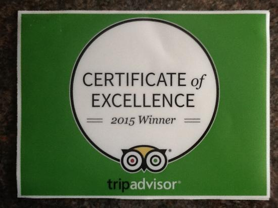 Arbour House Bed & Breakfast: Trip Advisor Certificate of Excellence