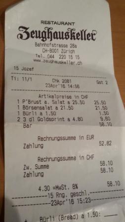 Zeughauskeller : scontrino del pranzo - due piatti e due birre piccole