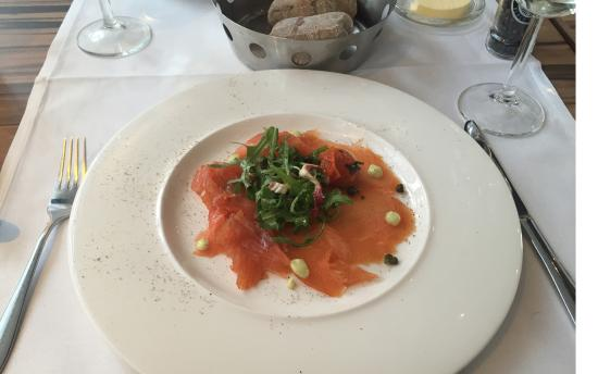 Excellent Smoked Salmon First Course Of Four In The Set Menu