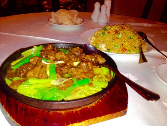 China Restaurant: Sizzling Chinese Beef and Shrimp Fried Rice