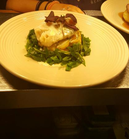 Middlewich, UK: Oven baked coin loin served with sautéed potatoes, spring cabbage and a white wine and parsley s